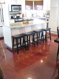 Red Kitchen Floor Interior Decorative Concrete Red Stained Kitchen Floor A