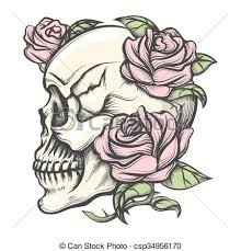 Skull With Roses Human Skull With Roses Drawn In Tattoo Style