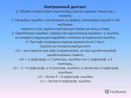 Презентация на тему Единый орфографический режим в начальной  25 Контрольный диктант