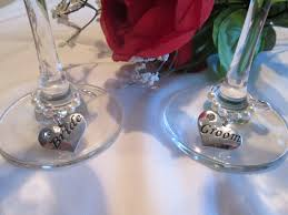wedding wine glass charms with cream pearls and swarovski crystal