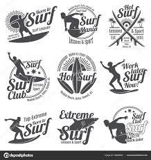 夏サーフィン スポーツ ベクトルのロゴと共にサーファーサーフィンの