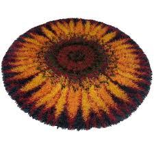 1970s round scandinavian modern sunburst rya rug denmark for