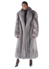 womens real fox fur coat long fox fur coat blue frost fox