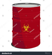 Red Barrel Designs Red Barrel Toxic Radioactive Container Danger Stock Vector