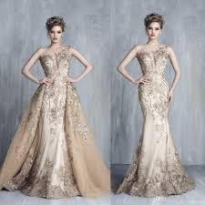 Tony Chaaya 2017 Evening Dresses With Detachable Train Champagne