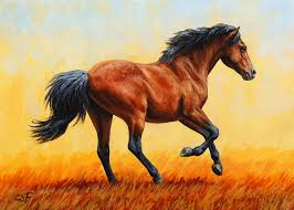 horse painting running horse evening fire by crista forest