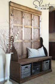 Entrance Bench With Coat Rack Rustic Foyer Benches Trgn ea100f100bf100 34