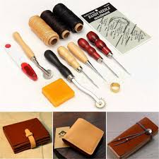 13 x leather craft hand stitching sewing stamping working basic tools kit thread