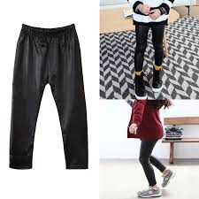 details about kids pu leather pants girls babys stretch trousers toddler skinny leggings warm