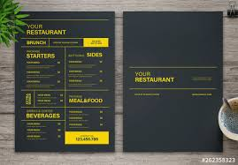 Restaurant Menus Layout Restaurant Menu Layout With Black And Yellow Accents Buy