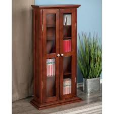 cabinet winsome wood cd 7 dvd with glass doors antique walnut