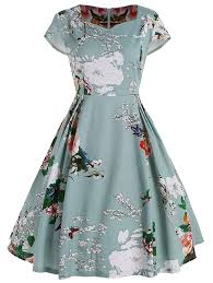 Light Green Fit And Flare Dress Street27 Floral Fit And Flare Plus Size Dress Light Green