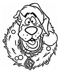 Scooby Wearing Christmas Wreath Coloring Page Download Print