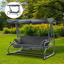 outsunny heavy duty 3 seater covered outdoor swing chair garden lounger bed with frame and 2 pillows grey outdoor cushions best canada