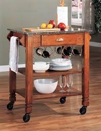kitchen island warm oak finish granite top and wheels by coaster 910009