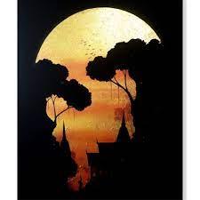 moon canvas art golden full moon