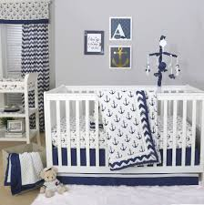 anchor nautical 3 piece baby crib bedding set in navy blue by the