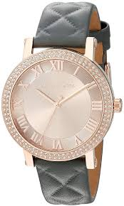 michael kors norie gray quilted leather women s watch mk2619