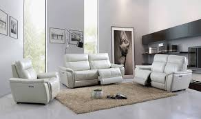 Light Grey Leather Recliner Sofa Esf 1705 Modern Light Grey Top Grain Leather Electric