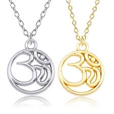 whole diy round necklace india jewelry hollow yoga sporty double side pendant gold silver buddhism necklaces pendants drop chunky necklaces