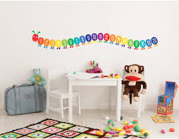 counting caterpillar wall sticker