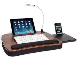 com sofia sam multi tasking memory foam lap desk with usb light wood top supports laptops up to 15 inches office s