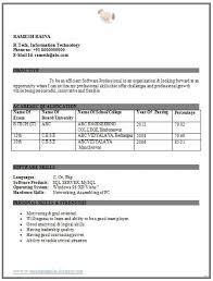 Sample Resume Format For Freshers Useful Imagine Information
