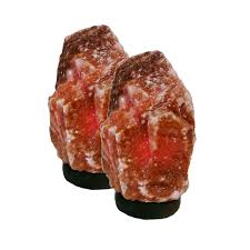 Himalayan Salt Lamp Side Effects Classy Dark Red Himalayan Salt Lamp Set On Dark Wood Base