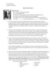 Pre Ap English I Literature Macbeth Macbeth Essay Topics