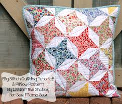 Friendship Star Pillow Feature & Giveaway - LMS   This Makes Me ... & Big Stitch Quilting + HST Pillow Top Tutorial @ Sew Mama Sew by Corey from  Little Miss Shabby, love the hand quilting Adamdwight.com