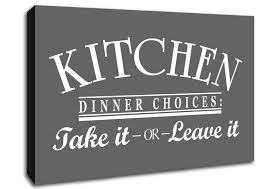 text es kitchen dinner choices grey canvas art