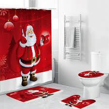 <b>4PCS Merry Christmas</b> Bathroom Set Shower Curtain SantaClaus ...