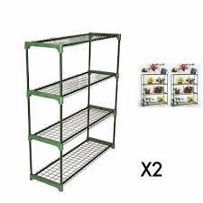 2pcs 4 tier steel greenhouse shed garage shelving rack unit staging storage new