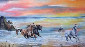 horses running in the sunset. Modren Horses Horses Running Free  Painting On Canvas Of Running In The Sunset  Beach  Intended In The T