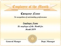 Printable Employee Of The Month Certificates 5 Employee Of The Month Certificate Templates Word Pdf Ppt