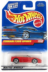 Plastic bottom, five spoke wheels and a plastic wing ferrari 355 video review shows up close hd detailed imagery of the hotwheels ferrari f355 challenge with red paint and white flames. Amazon Com Mattel Hot Wheels 1999 1 64 Scale Red Ferrari F355 Spider Die Cast Car Collector 1119 Toys Games