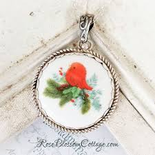 home broken china jewelry pendants necklaces red bird round rope edge porcelain winter jewelry pendant necklace