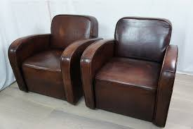 art deco style pair vintage leather club chairs photo 1