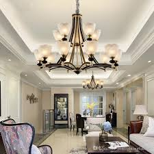american compound building large chandelier villa living room pendant lamp dining room iron retro chandelier european large black chandelier pendant light