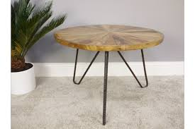 urban sheesham wood coffee table round black metal legs