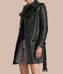 black leather womens double ted mid length trench coat