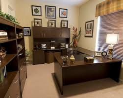 neutral office decor. Warm Home Office Decor For Work In Neutral Brown Wall And Furniture Set, Nice Ideas I
