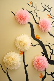 tissue paper flowers wall art