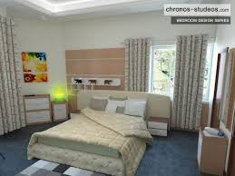 4 bedroom house interior. bedroom 3d visualization by chronos studeos cream and brown wardrobe curtains bedspread 4 house interior