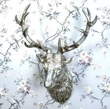 faux deer head decor stag head decor faux deer head decor stag head wall art large antique silver stag head