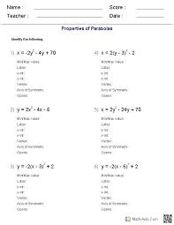 quadratic equation worksheet with answers together with math lab worksheet south college parabola equation match five quadratic equation worksheet