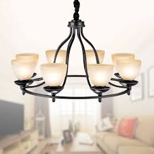 6 light black wrought iron chandelier with glass shades dk 2037 6