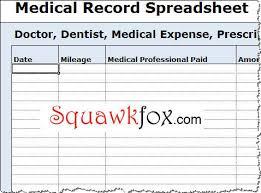 Medical Expense Tracking Spreadsheet Squawkfox