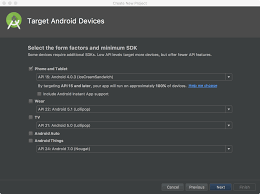 create a project android studio figure 2 the target android devices screen