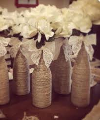 Wine bottles DIY twine wrap lace upcycle old wine bottles